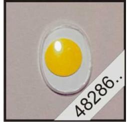2 ovale plak wiebeloogjes geel