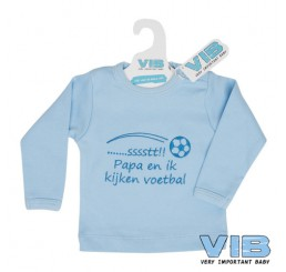 T-Shirt '.......sssstt! Papa en ik kijken voetbal' Lichtblauw+Lichtblauw