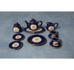 Blauwe rozen thee servies