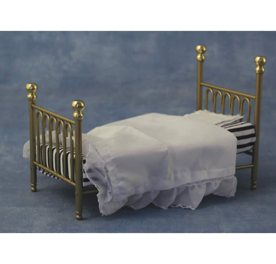 messing bed 1 persoonsdolls house emporium 9111