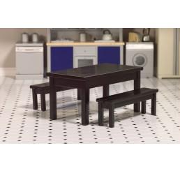 Zwarte tafel met 2 banken