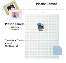 Plastic stramien 26 x 34 cm Delfts blauw, 7 mesh