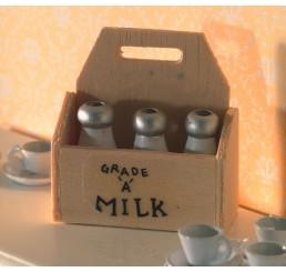 Houten krat met melk