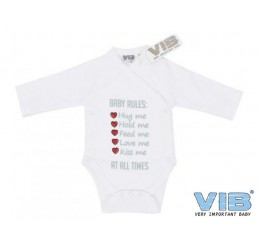 Overslag Romper 'BABY RULES: Hug me, Hold me, Feed me, Love me, Kiss me, AT ALL TIMES' Wit Grijs