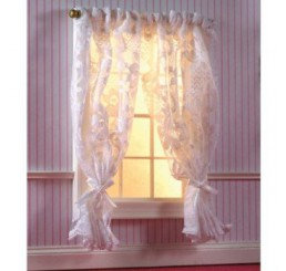 Off-White Lace Curtains on Rail
