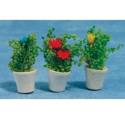 Bloemen in pot, 3 stuks