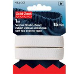 Elastiek Velours 15 mm, 1 meter, wit