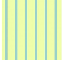 Poppenhuis behang blauw gestreept