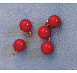 Kerstballen, rood, 5 stuks