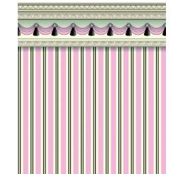 streep behang in roze met grijs