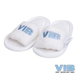 Baby Slipper 'VIB' Wit+Licht Blauw