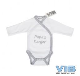 Overslag Romper 'Ik ben papa's kanjer !!!' Wit+Grijs