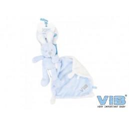 Pluche Konijn houdt doekje vast  Very Important Rabbit Blauw