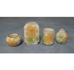 Vazen met bloemenmotief, 4 stuks