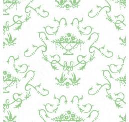 Poppenhuis behang, groen op creme
