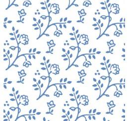 Poppenhuis behang, wit met blauw
