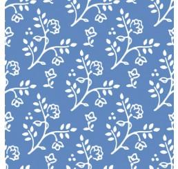 Poppenhuis behang, blauw met wit