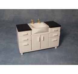 Wastafel met onderkastjes, wit