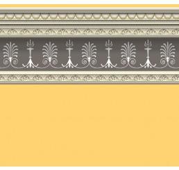 zacht geel behang met border