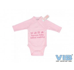 Overslag Romper 'Remove baby before washing' Roze