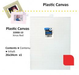 Plastic stramien 26 x 34cm kerstrood, 7mesh