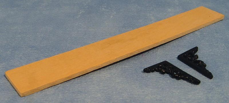... 12 Miniaturen - Keuken - Opbergplank, hout met wandsteunen