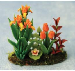 Bloembedje met Irissen en tulpen