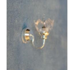Zilveren wandlamp met helder glas