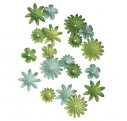 Papieren bloemen groen