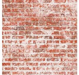 Rode muurstenen met relief