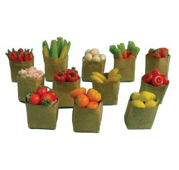 Bruine zakken met groenten en fruit, 12 stuks
