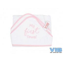 Badcape VIB My first Towel Wit+Roze