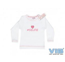 T-shirt '#SELFIE' Wit-Paradise Pink