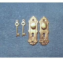 deurbeslag met knop en sleutel per 2