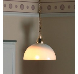 Plafond hanglamp, zilver met melkglas