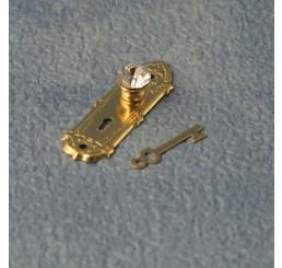 Messing deurbeslag met sleutel, 2 stuks