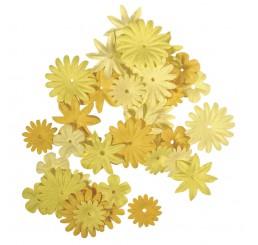 Papieren bloemen geel