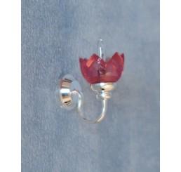 Zilveren wandlamp met roze glas