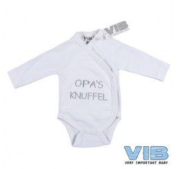 Overslag Romper 'Opa's Knuffel' Wit+Wit