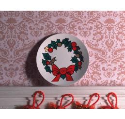 kerst wand bord porselein