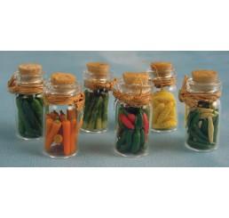 Ingemaakte augurken, pepers, etc., in fles 6 stuks