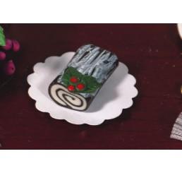 chocolade boomstam met hulstblad