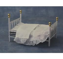 Wit metalen bed, 2 persoons