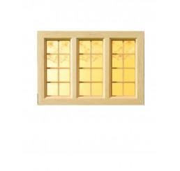 blank houten raam 3 luik