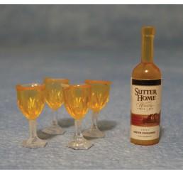 Fles met 4 glazen