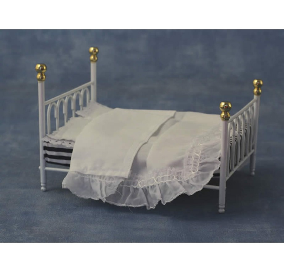 Wit Bed 2 Persoons.Wit Metalen Bed 2 Persoons Dolls House Emporium 9117