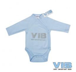 Overslag Romper 'V.I.B. Very Important Baby' Licht Blauw+Licht Blauw