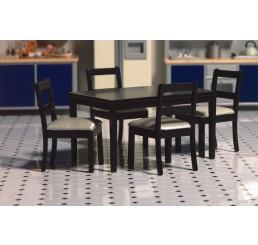 Zwarte eettafel met 4 stoelen