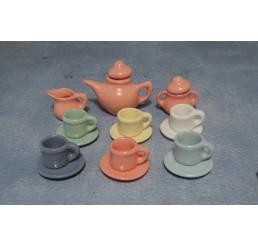 pastel kleuren Art deco thee servies
