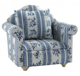 Armleuningstoel, blauw motief
